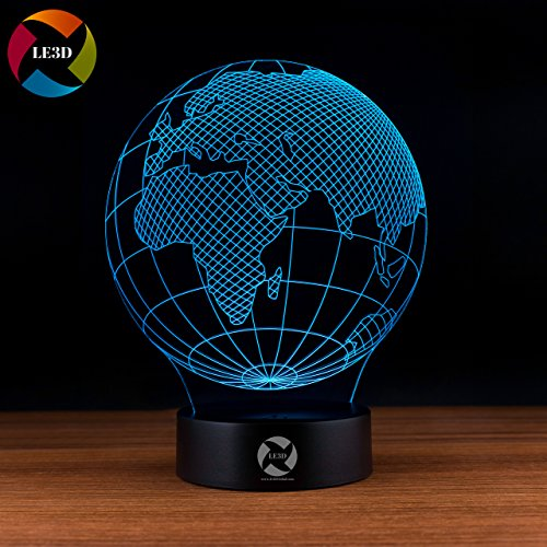 LE3D 3D Optical Illusion Desk Lamp/3D Optical Illusion Night Light, 7 Color LED 3D Lamp, Globe 3D LED For Kids and Adults, Earth Light Up Globe Hologram