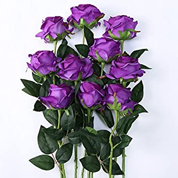 Amazon purple calla lily wedding posy real touch latex silk luyue artificial silk rose flower bouquet wedding party home decor pack of 10 style mightylinksfo