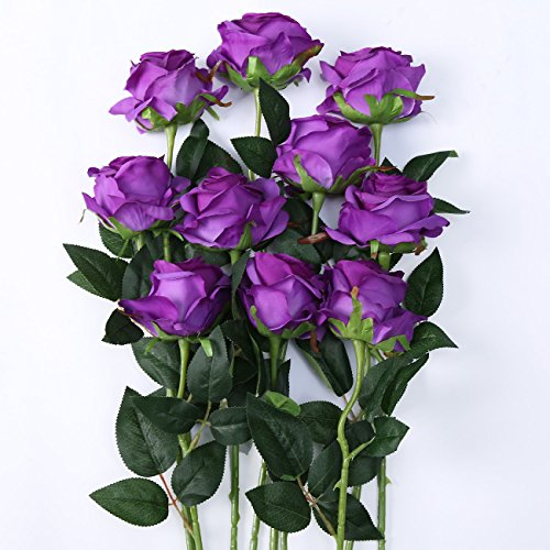 Purple Roses Wedding (Luyue Artificial Silk Rose Flower Bouquet Wedding Party Home Decor, Pack of 10 (Style 1-Purple))