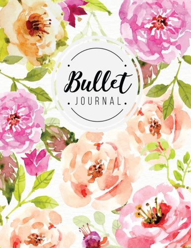 Bullet journal: quarterly planner with blank yearly & monthly calendar, and habit tracker, 120 dot grid & 15 lined pages, 8.5x11in, floral softcover: ... large diary journal to write in everyday life