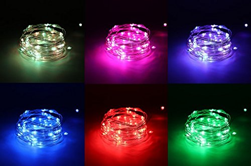 Timer Unit Transformer - Three Silver Wire Color-Change Fairy String Lights Copper Wire with Remote Control Timer Battery Operated Waterproof 8 Modes 50 LED 16.4ft RGB Multi-color (4-Set)