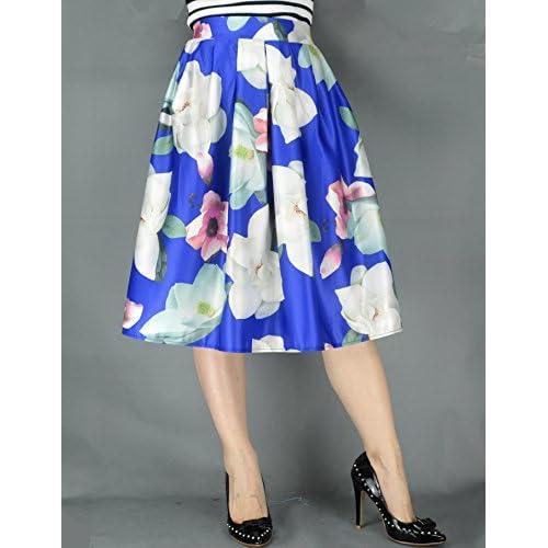 good YSJ Women's A-Line Pleated High Waist Midi Skirt Floral