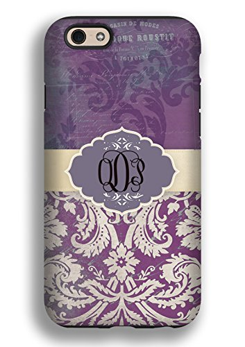Protective snap on case - Monogrammed iPhone 6 case - Distressed floral damask, purple - personalized case fits all carriers, To Gild The Lily®