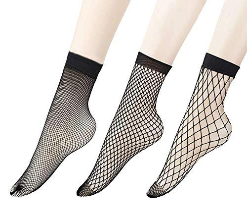 Penta Angel 3 Pairs Women Black Lace Fishnet Socks Elastic Ankle High Dress Hollow Out Mesh Net Socks Tights for Summer Wear
