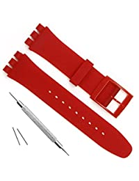 Ultra-thin Swatch Replacement 16mm Waterproof Silicone Rubber Watch Strap Watch Band (16mm, Red)