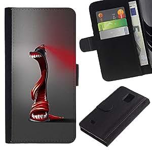 Billetera de Cuero Caso Titular de la tarjeta Carcasa Funda para Samsung Galaxy Note 4 SM-N910 / Abstract Spray Paint / STRONG