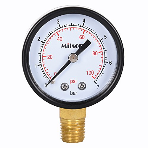 milson-pressure-gauge-2-black-steel-case-bottom-mount-1-4npt-0-100-psi-bar-accuracy-20-brass-interna