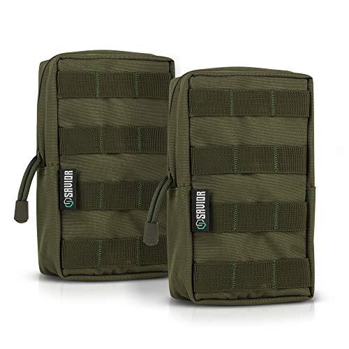 (Savior Equipment Tactical Molle Pouches Versatile Lightweight Compact Accessory Utility Tool Organizer Belt Waist Bag, 2-Pack)