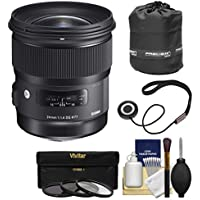 Sigma 24mm f/1.4 Art DG HSM Lens for Nikon DSLR Cameras with Pouch + 3 UV/CPL/ND8 Filters + Kit