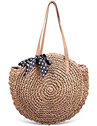 Round Summer Straw Large Woven Shoulder Bag Sholov Wallet Ladies Professional Handbag
