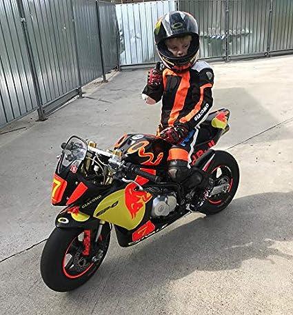9//10 anni Arancio//Nero BIESSE Combinaison de moto pour enfant en cuir et tissu avec protections CE L