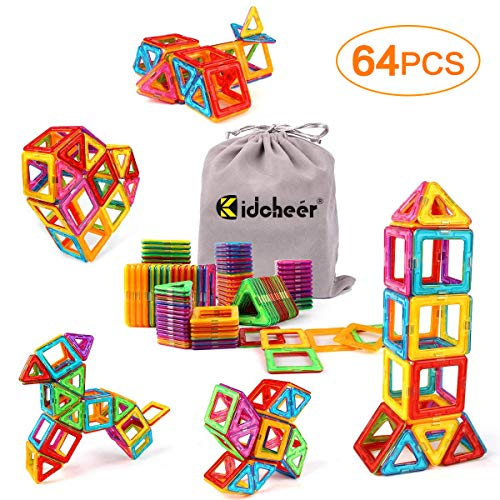KIDCHEER Magnet Building Tiles, Magnetic 3D Building Blocks Set for Kids, Magnetic Educational Stacking Blocks Boys Girls Toys