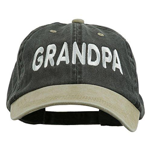 Wording of Grandpa Embroidered Washed Two Tone Cap - Black Khaki OSFM