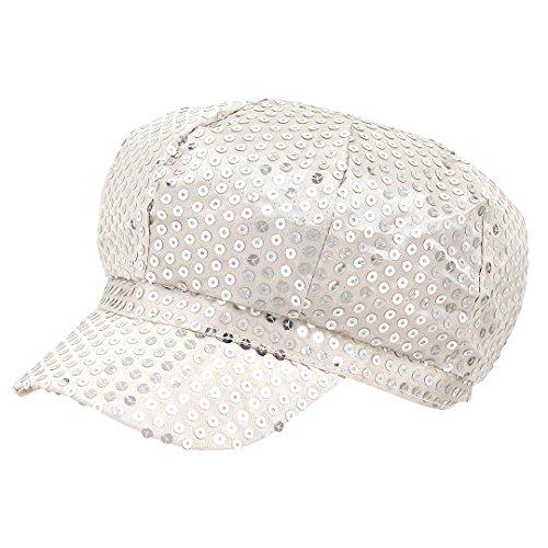 Surkat Unisex Shiny Sequin Newsboy Hat Funky Retro Costume Baseball Cap Diva Disco Rave Hat(Silver) -
