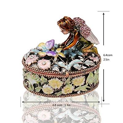 YUFENG Angel Trinket Box Metal Enameled Flower Figurine Collectable Wedding Jewelry Ring Holder Organizer