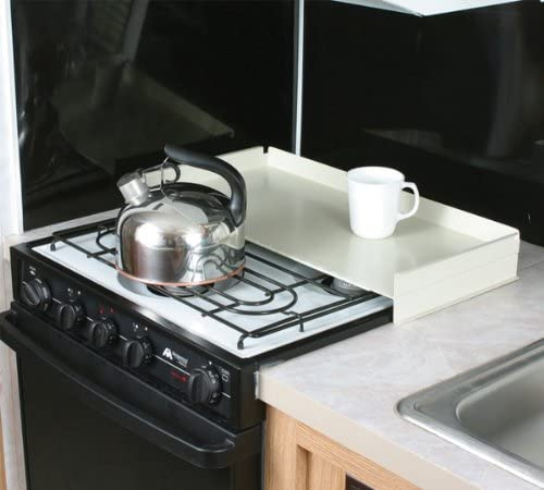 Amazon Com Camco Rv Stove Top Cover Universal Fit Add Extra Counter Space To Your Camper Or Rv White Automotive
