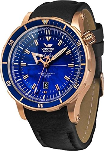 Vostok-Europe Anchar Men's Automatic 24J Diver Watch Rose Gold with Blue Pearl Dial NH35A/5109246