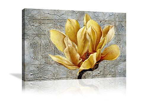 Urttiiyy Yellow Grey Flower Wall Art Abstract Gray Background Print on Canvas Home Decor Decal Pictures Poster for Bedroom Living Room Printed Painting Gifts Framed Ready to Hang - 36''x24'' (And Gray Art Yellow Canvas Wall)