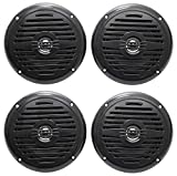 (4) Rockville MS525B 5.25'' 800 Watt Waterproof Marine Boat Speakers 2-Way Black