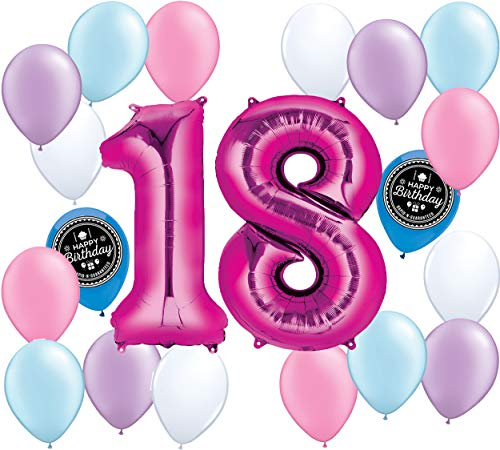 Choose Your Own Age (1-50th) Girls Party Supplies Balloon Decoration Bundle for Any Girls Happy Birthday Theme (18th Birthday) -