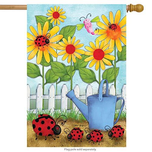 Briarwood Lane Ladybug Parade Spring House Flag Floral Watering Can 28