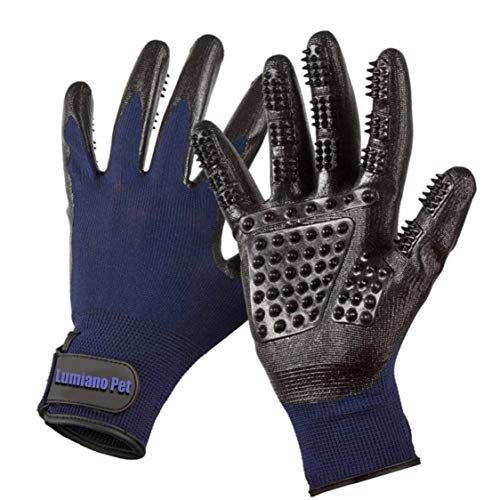 LUMIANO PET Dog Grooming Gloves-Hair Remover Deshadding Brush Glove- Mitt Gentle for Long & Short Fur, Shedding, Bathing, Massaging, for Dogs Cats Horses Big & Small (Navy Blue) by LUMIANO PET