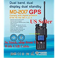 TYT MD-2017 with GPS Dual Band Tier I & II DMR/Analog Radio 136-174MHz & 400-480MHz, Up to 3000 Channels, Color Display, with Programming Cable and Software. Ship from USA Only
