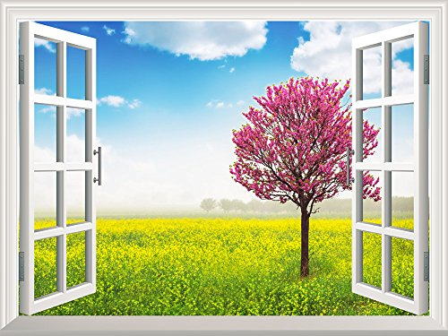 Removable Wall Sticker Wall Mural Blooming Tree in the Rapeseed Field Creative Window View Wall Decor