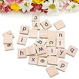 Tangc 100 Wooden Alphabet Scrabble Tiles Black Letters Wood Scrapbooking