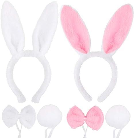 FLOFIA 2 Conjuntos Disfraz Conejo Diadema Orejas Conejo Bunny Ears ...