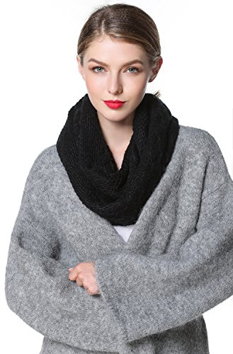 Girls Cashmere Cable (LETRY Winter Infinity Scarf for Women Solid Color Cable Knitted Circle Loop Scarf (Black))