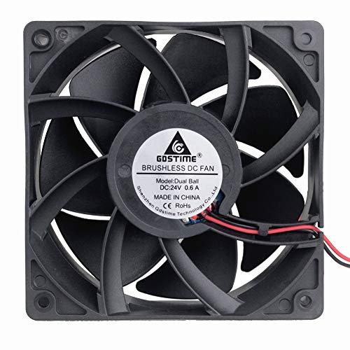 (GDSTIME High Airflow 24V 120mm x 120mm x 38mm Dual Ball Bearing 5 Inch Brushless Cooling Fan)