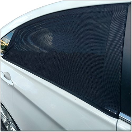Car Window Shade. Universal Fit Nylon Mesh Sunshade Covers for Rear Seat. Premium Tint to Shield your Kids and Auto Interior from Heat, Glare & Harmful UV Rays. 2 Black Sun Shades with Storage Bag. (Wide Window Shade Car compare prices)