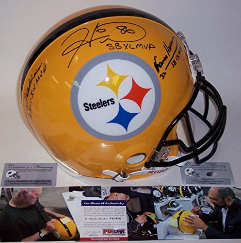 Terry Bradshaw, Franco Harris & Hines Ward Autographed Hand Signed Pittsburgh Steelers Full Size Authentic Helmet - PSA/DNA Certified ()