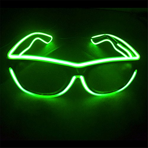 el glasses, el wire with 3v AAA portable controller (Light green)