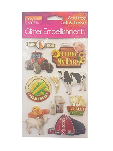 Farm Scrapbooking - Passtime Crafts 3D Farm Embellishments with Glitter Accents - Pack of 2 Sheets 7546