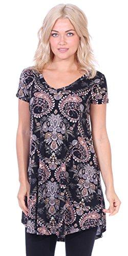 Popana Women's Tunic Tops for Leggings Short Sleeve Summer Shirt Made in USA Small ST56 Paisley