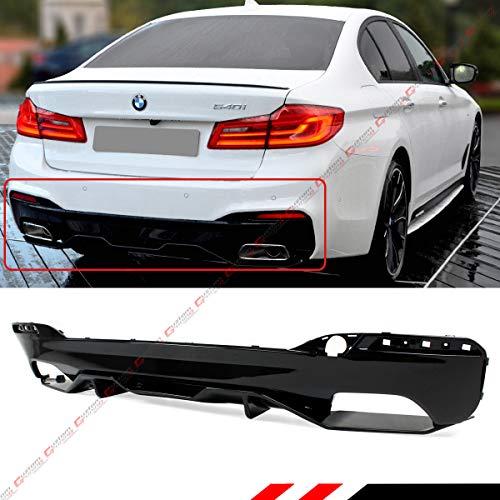 (Perofrmance Style Glossy Black Rear Valance Bumper Diffuser Fit for 2017-2018 BMW G30 530i 540i M550i W/M Sport Bumper)
