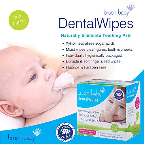 51ZR8le3LgL - Brush Baby Teething Relief Dental Wipes For Ages 0-Toddler - Naturally Eliminate Teething Pain, Prevent Tooth Decay And Sour Milk Breath - 28 Finger Wipes (2-Pack)