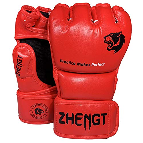 ZTTY MMA Gloves Martial Arts Training Sparring Punching Bag Gloves for The Kickboxing with Microfiber Leather (Red, M) ()