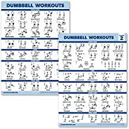 2 Pack Dumbbell Workout Exercise Posters - Volume 1 & 2 - Free Weight Body Building Exercise Charts [LI