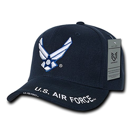 Air Force Cap (United States Air Force Wing Embroidered Cap by Rapid Dominance, Navy blue, Adjustable)