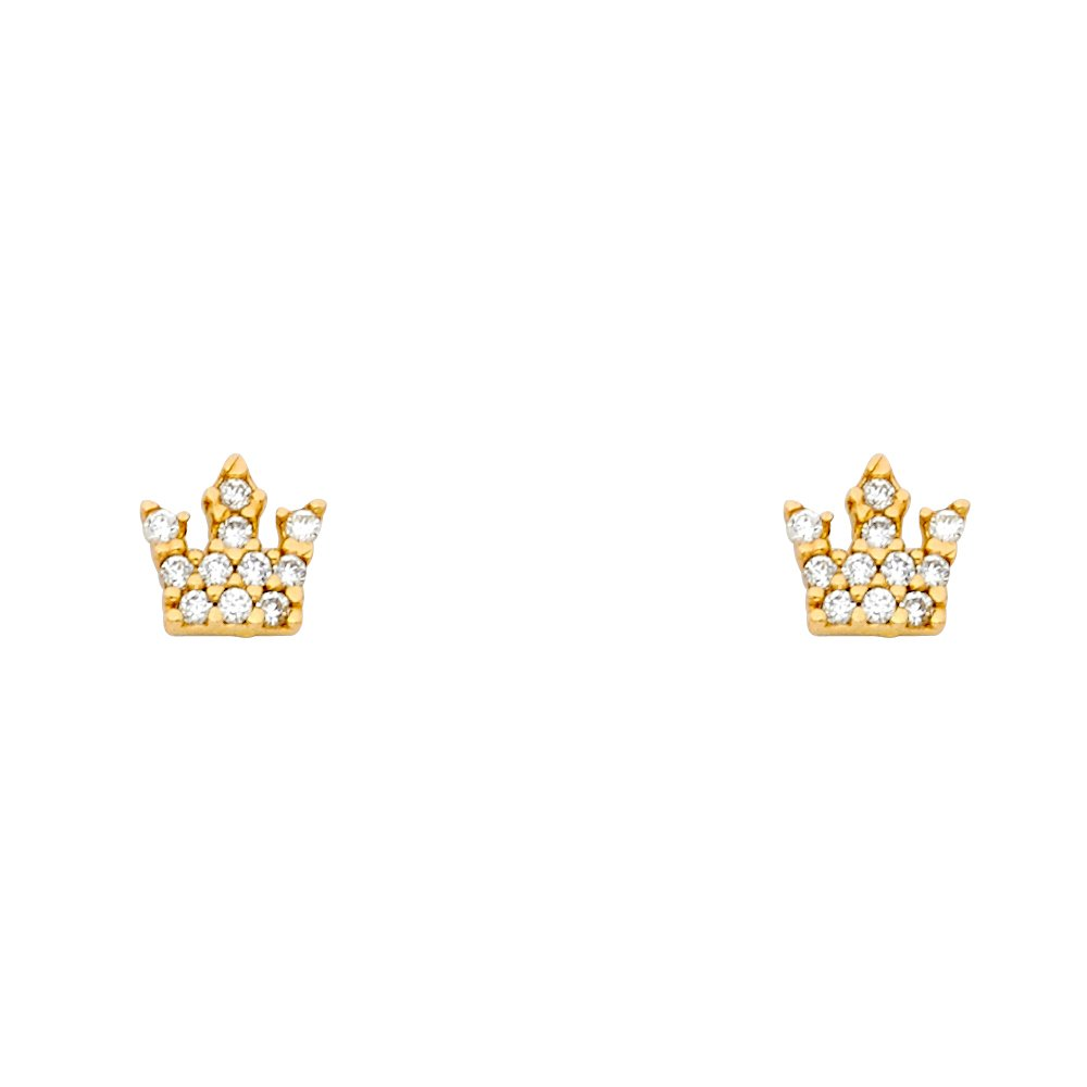 Wellingsale 14K Yellow Gold Polished Crown Stud Earrings With Screw Back