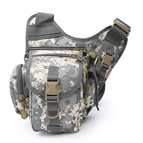 Wmshpeds Deportes al aire libre grandes portasilla hembra multi-funcional de las tácticas de camuflaje del ejército paquete super fans hombro bolsa bandolera hombres A