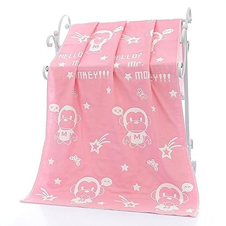 MiGMV Tres capas de gasa de algodón puro, Toalla de baño, agua blanda para bebés toalla absorbente cubrir es de 140x70cm,polvo mono,140x70cm: Amazon.es: ...
