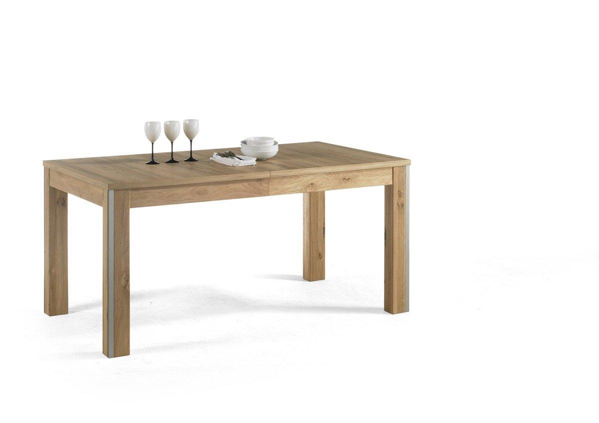 Dreams4Home Esstisch massiv 'Adeline' Eiche Bianco Tisch Esszimmertisch Esstisch Massivholz Breite 160 (260) cm, mit Auszug