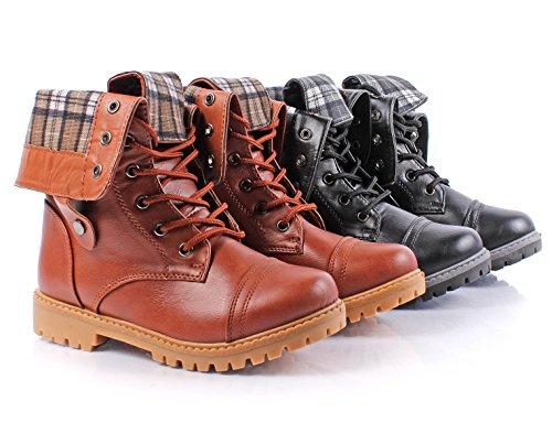 Fashion Faux Leather 2-Way Mid-Calf with Fold Style Lace up Military Combat Kids Youth Casual Winter Boots Shoes