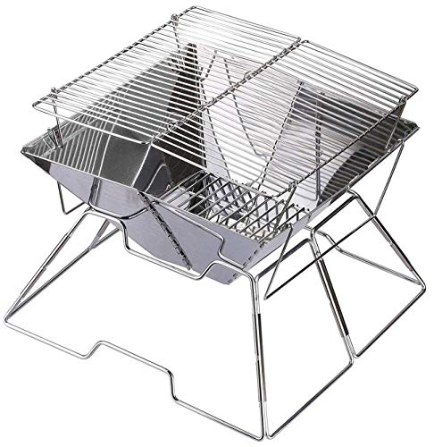 """Portable Folding grill BBQ Stainless Steel Charcoal Grill with Carrying Bag, Perfect for Outdoor Camp Garden Barbecue (GRILL SIZE 12.5""""x12.5"""")"""