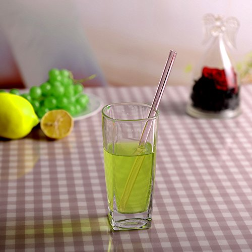 (1PC Straight Glass Drinking Straws Shatter Resistant Extra Wide Drinking Straws Glass Colored Clear Drinking Straws for Milkshakes Frozen Drinks - Eco-Friendly (H))