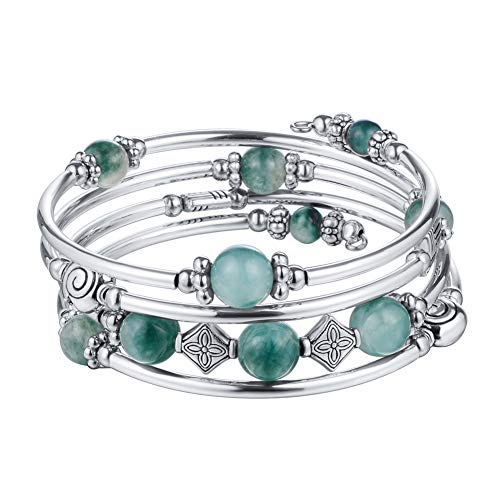 Beaded Pearl Bangle Wrap Bracelet - Fashion Bohemian Jewelry Multilayer Charm Bracelet with Thick Silver Metal Beads, Gift for Women and Girls (Jade Green)